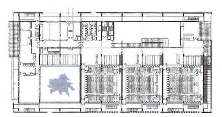 plan du niveau des amphith tres 400 facult et biblioth que universitaire bolze et rodriguez. Black Bedroom Furniture Sets. Home Design Ideas