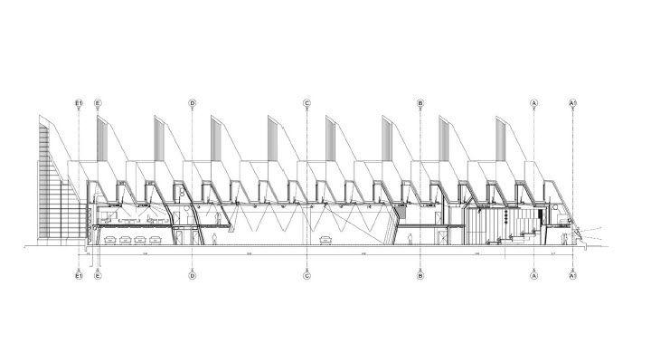 coupe transversale centre de communication jakob et macfarlane boulogne billancourt querre. Black Bedroom Furniture Sets. Home Design Ideas