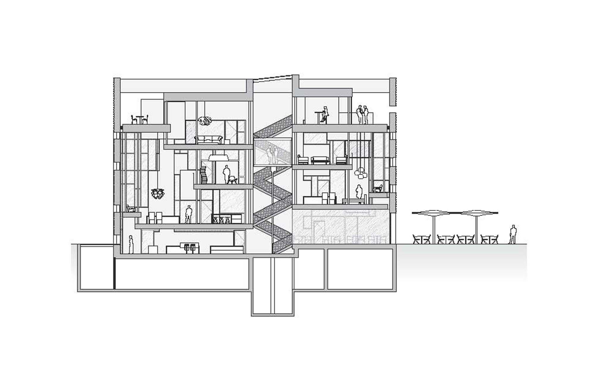 coupe transversale magasin et showroom rbc design center ateliers jean nouvel et c d. Black Bedroom Furniture Sets. Home Design Ideas