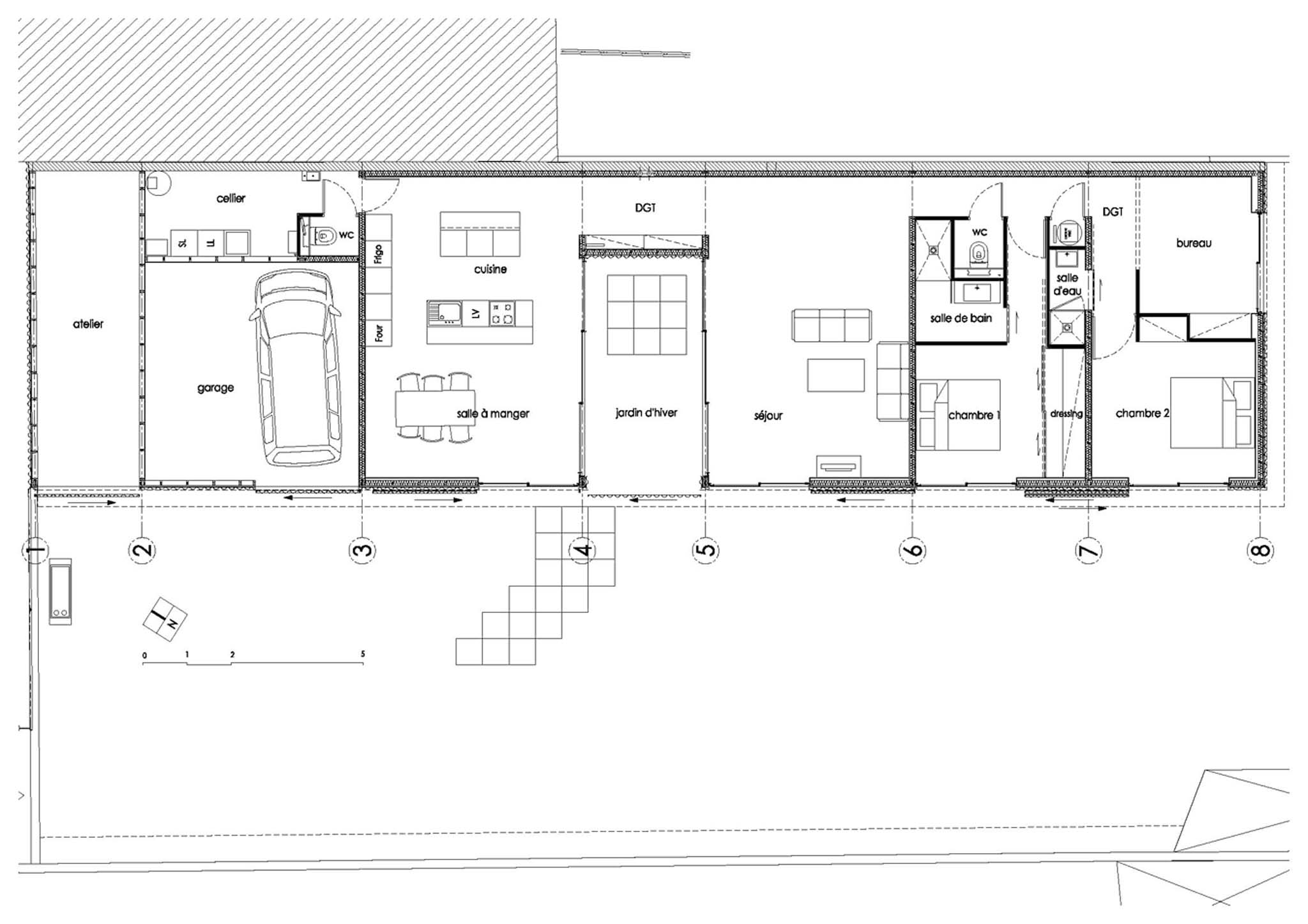 Maison en u plan plan maison moderne en u plan architecte for Plan de maison en u