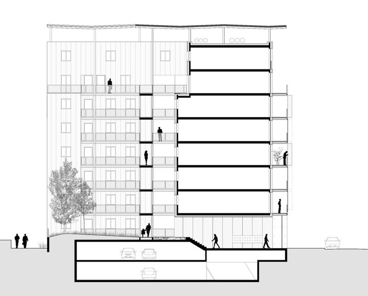 coupe transversale 66 logements immeuble amplia lipsky rollet lyon confluence. Black Bedroom Furniture Sets. Home Design Ideas