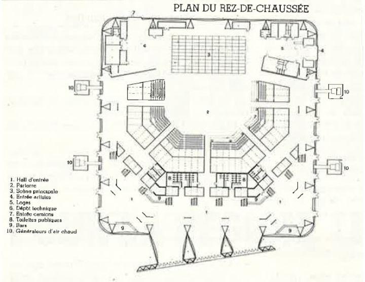 Plan du rez de chauss e salle de spectacle le z nith chaix et morel la villette paris xixe Plan salle zenith paris