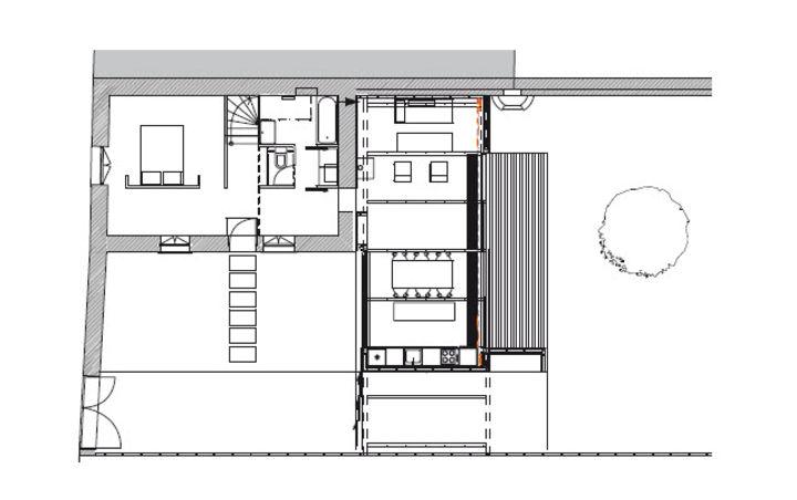 plan du rez de chauss e extension d une maison benoit chailleux nantes prix de la premi re. Black Bedroom Furniture Sets. Home Design Ideas