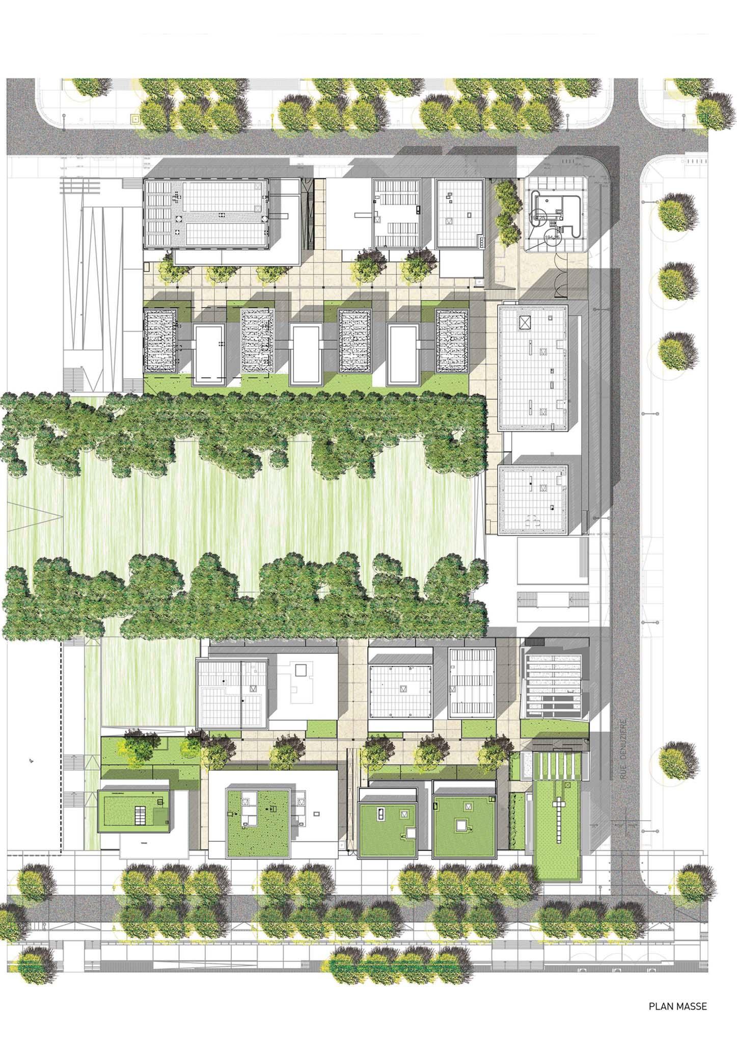 Plan masse 39 logements cl ment verg ly lyon for Plan masse architecture