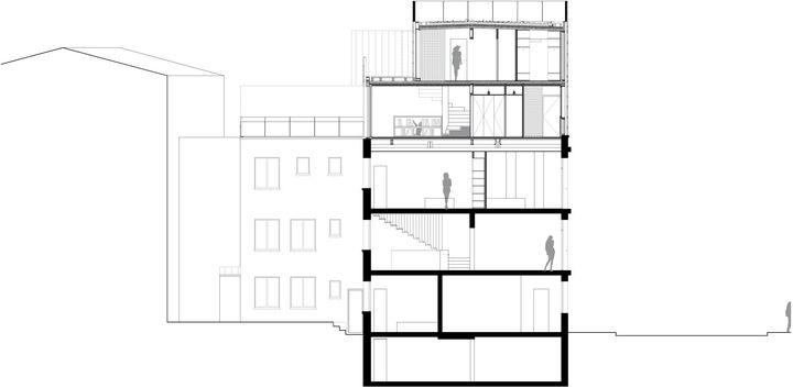 coupe transversale sur l vation d 39 un habitation hardel le bihan architectes paris 16 me. Black Bedroom Furniture Sets. Home Design Ideas