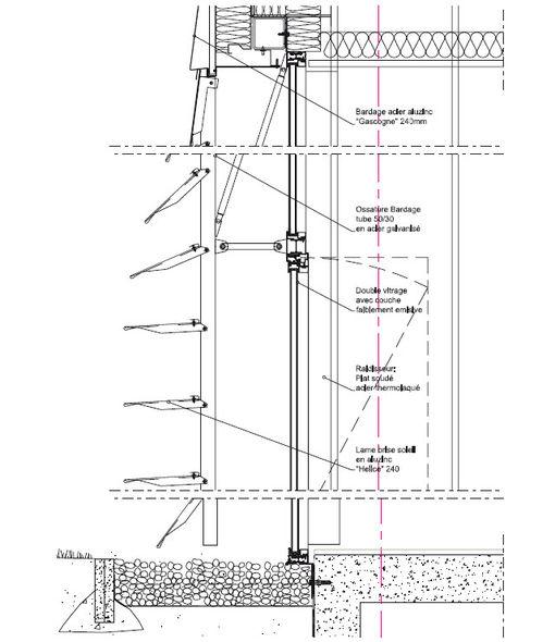 Coupe sur l 39 enveloppe bureaux et laboratoires sophysa brigitte metra - Brigitte metra architecte ...