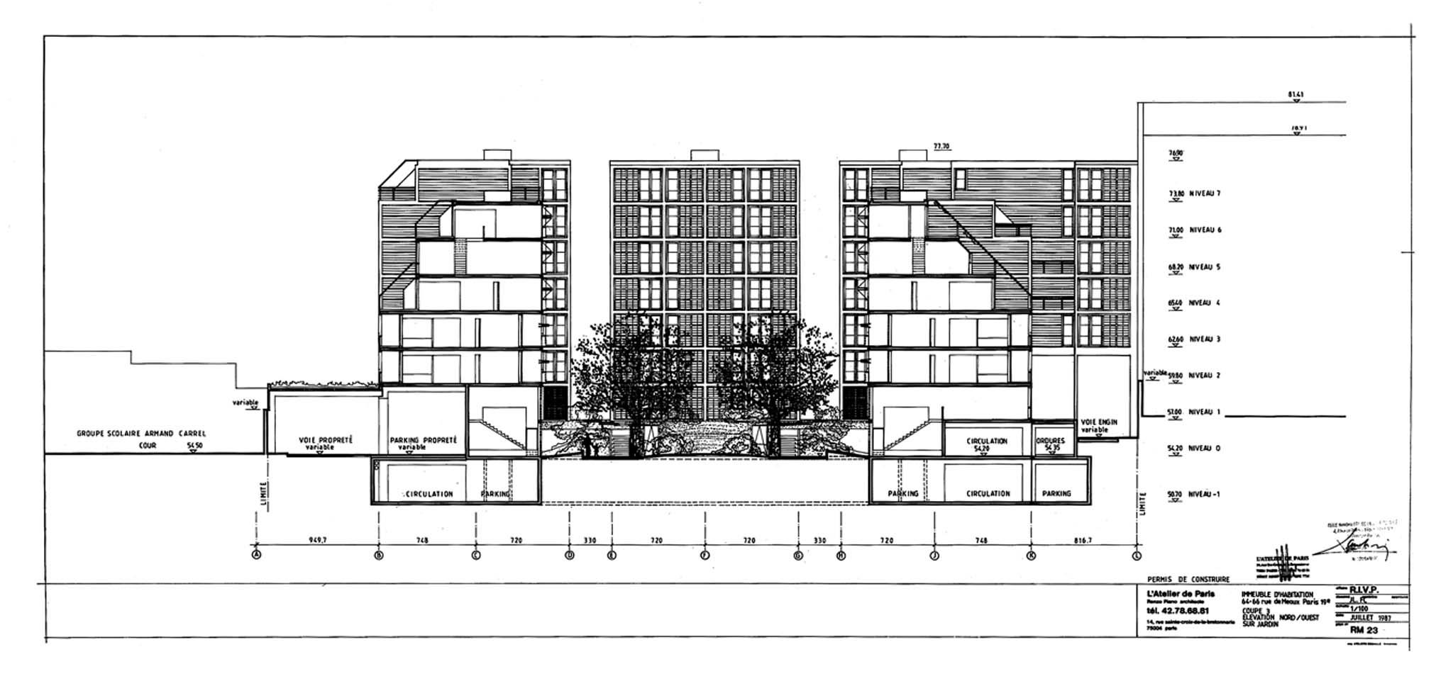 Renzo piano logements l vation nord ouest for Garage rue de meaux vaujours