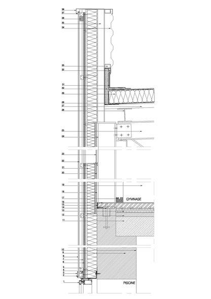 coupe de d tail sur la fa ade sud du gymnase et de la. Black Bedroom Furniture Sets. Home Design Ideas