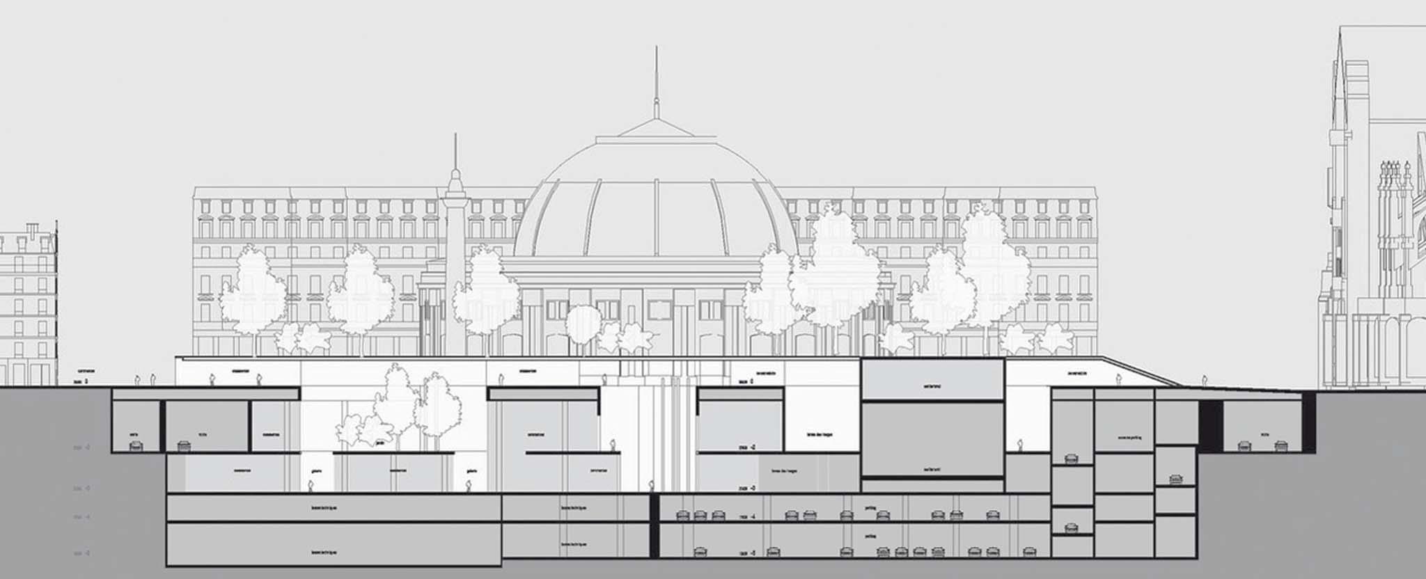mvrdv concours pour le r am nagement du quartier des halles 2004 coupe transversale phase 2. Black Bedroom Furniture Sets. Home Design Ideas
