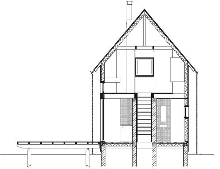 coupe transversale maison de weekend lode architecture fourneville prix de la premi re. Black Bedroom Furniture Sets. Home Design Ideas