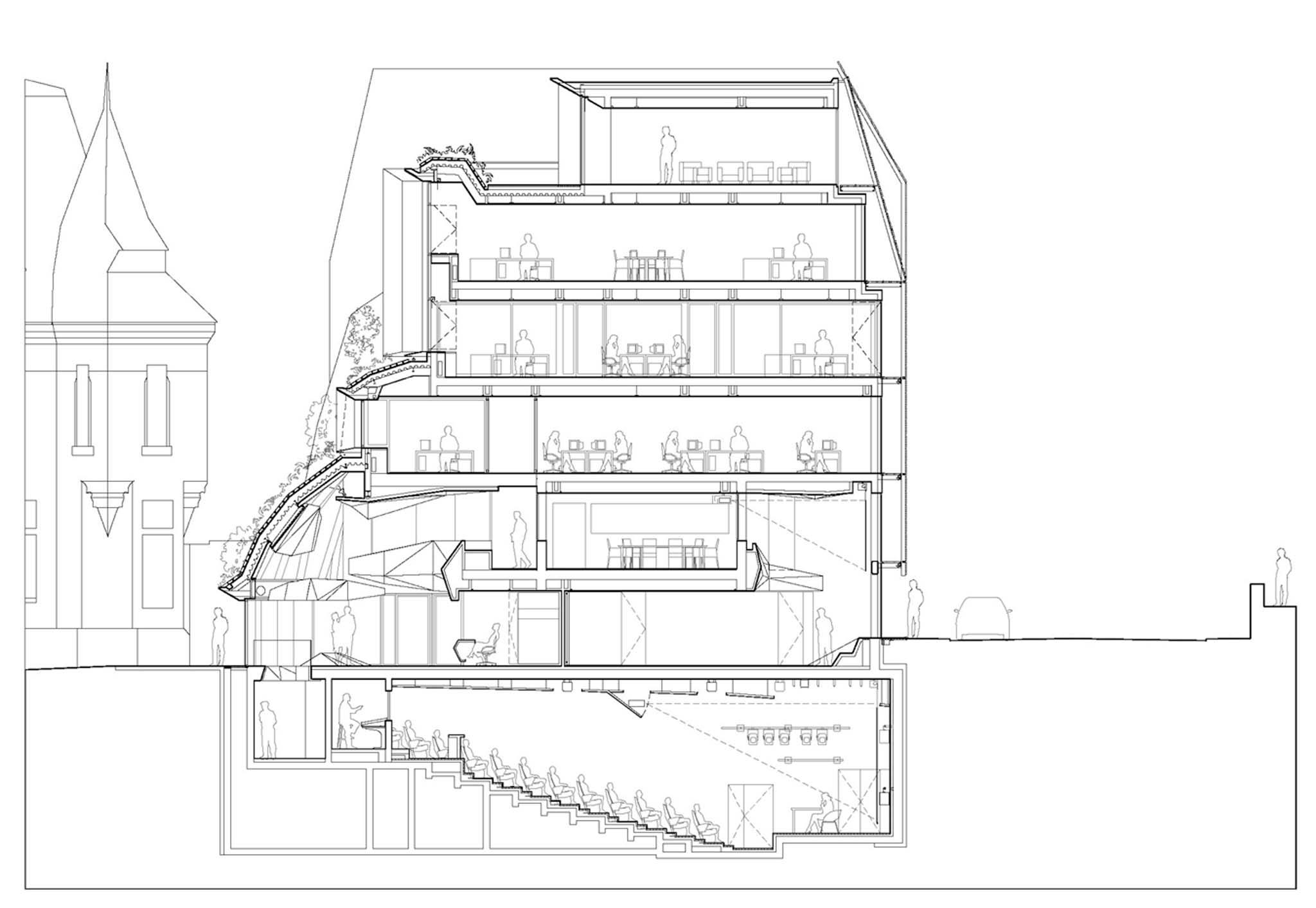 coupe transversale bureaux et auditorium chambre r gionale de commerce et d industrie. Black Bedroom Furniture Sets. Home Design Ideas